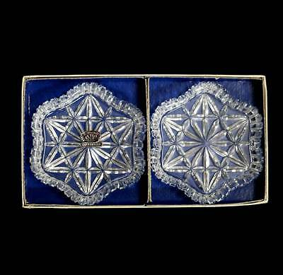 Vintage pair of Astra Czech cut crystal pin dishes or ashtrays in original box.