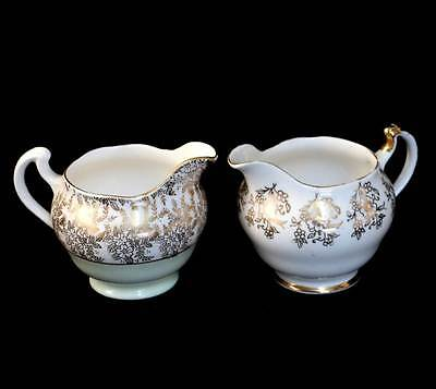 Vintage pair of pretty gilded chintz milk jugs - one Royal Vale one Crown Royal.