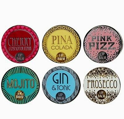 Gift Set of Six Cocktail Flavoured Lip Balms Prosecco Gin and Tonic Mojito