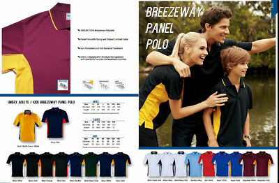 New Unisex Mens Breezeway Quick Dry Panel Casual Team Sport Polo Top Shirt
