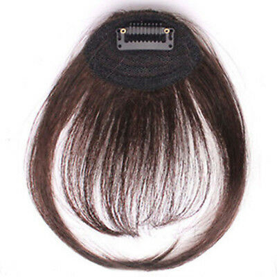 Women Girl Straight Clip on Front Bang In Fringe Hair Neat Extension Hairpiece