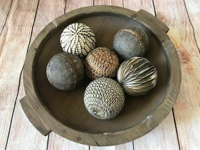 Brown MDF/Wood/Wooden/Timber/Metal Round Decorative Ball/Fruit/Bowl/Platter/Tray