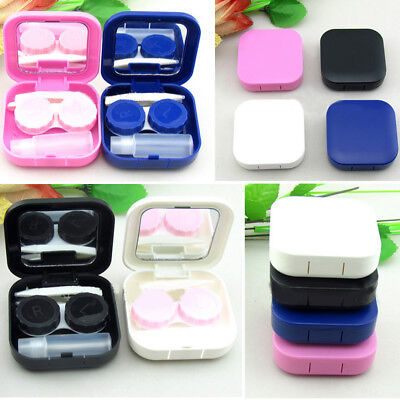 Mirror Travel Mini 4 Colors Holder Kit Box Contact Lens Case Cute