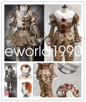 Halloween 2017 Pennywise Cosplay Costume Scary Horror Party Props with Mask