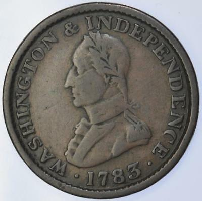 USA Colonial - 1783 'Washington and Independence' Token Large military bust