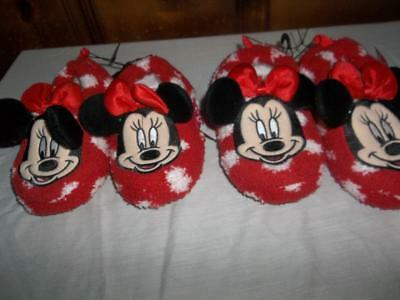 Minnie Mouse House Shoes Slippers Red Toddler Girls L(9/10) Xl (11/12) Nwt