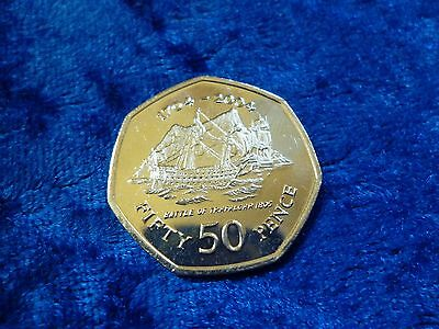 Gibraltar 50p Fifty Pence 2004 Battle Of Trafalgar UNC