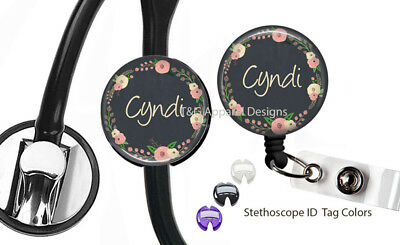 Personalized Chalkboard Roses Retractable Badge Reel Stethoscope ID Name Tag Set