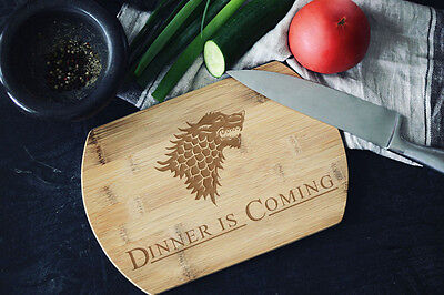 Game of Thrones inspired Dinner is Coming Custom Engraved Cutting Board