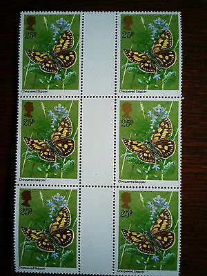 GB mint and unmounted block of 6 x 25p Chequered Skipper stamps - 1981