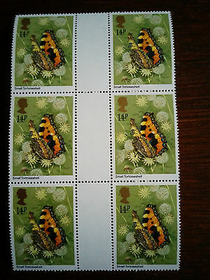 GB mint and unmounted block of 6 x 14p Small Tortoiseshell stamps - 1981