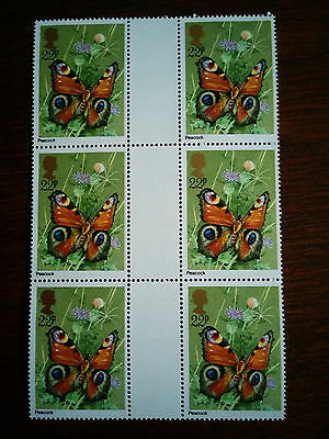 GB mint and unmounted block of 6 x 22p Peacock stamps - 1981