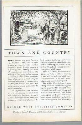 Vintage, Original, 1929 -  Middle West Utilities Company Ad - Electric Power