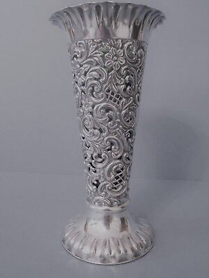 Ornate Antique Victorian Solid Silver Vase 1899
