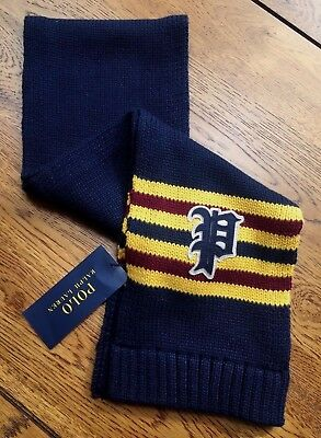 Polo Ralph Lauren Hunter Navy Knitted Varsity Scarf Bnwt To Suite Age 2-4 Years