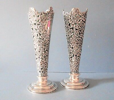 Pair of Antique Edwardian Solid Silver Pierced Vases 1901