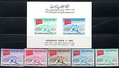 Yemen  Arab Republic 1963 - Red Cross + Ss Block + Stamps Mnh
