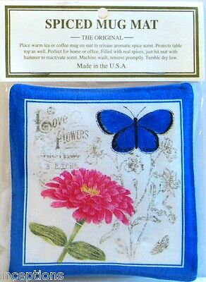 Alice's Cottage Cotton Scented Spiced Mug Mat Coaster Blue Butterfly - NEW