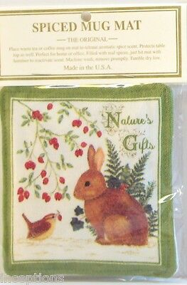 Alice's Cottage Cotton Scented Spiced Mug Mat Coaster Bunny Nature's Gifts - NEW