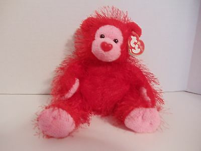 """2003 Retired Ty Punkies Collection """"Flame"""" Bear With Tags Heart Shaped Nose"""