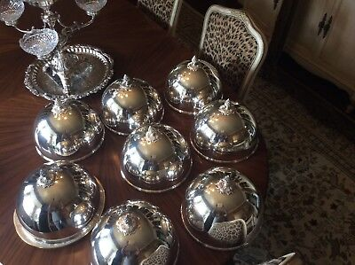 Super Rare Set Of 8 Antique Silver Plate Personal Dinner  Plate Domes Covers