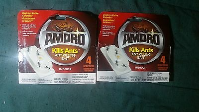 Amdro Ant Killing Bait Indoor 2 Pack 4 Stations 8 Total Destroys Entire Colonies
