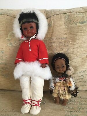 """Lovely 16"""" Eskimo Doll & 8"""" Native Indian With Real Feathers Doll Toy"""