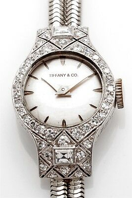 Antique ART DECO Tiffany & Co Platinum Ladies 2ct FRENCH CUT Diamond Watch WTY