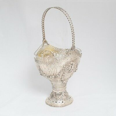 Antique Pierced 800/1000 Silver Flower Basket Angel Cherubs Design Glass Inset