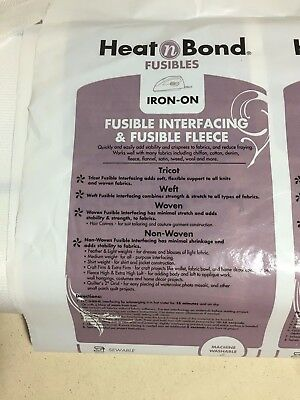 HEATNBOND Tricot Fusible Medium Weight White Interfacing Sold by the yard