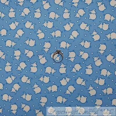 BonEful Fabric FQ Cotton Quilt Blue White Small Little Tiny Baby Elephant Dot US