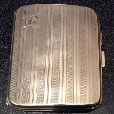 1927 Art Deco Engine Turned Solid Silver Cigarette Case (M.H.Meyer Ltd, Birm)