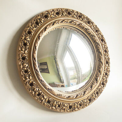 Vintage Antique 30s/50s Round Gilded Rococo Style Convex Wall Mirror FREE UK P&P