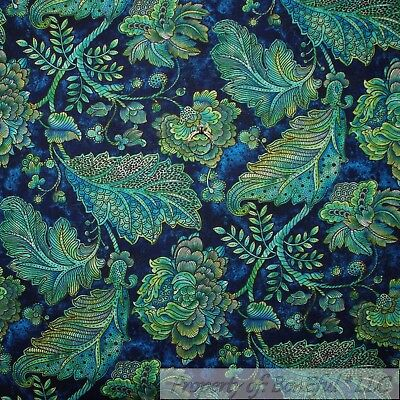BonEful Fabric FQ Cotton Quilt VTG Navy Blue Aqua Green Leaf Peacock Flower Vine