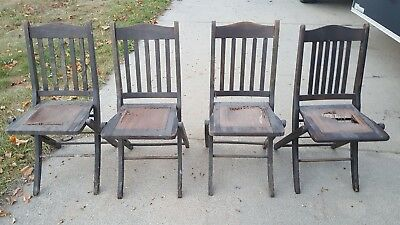 Set of 4  VINTAGE F&AM WOOD FOLDING CHAIRS      40 AVAILABLE