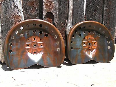 TWO STEEL tractor seats Metal Farm or bar stool tops Pan Style Large