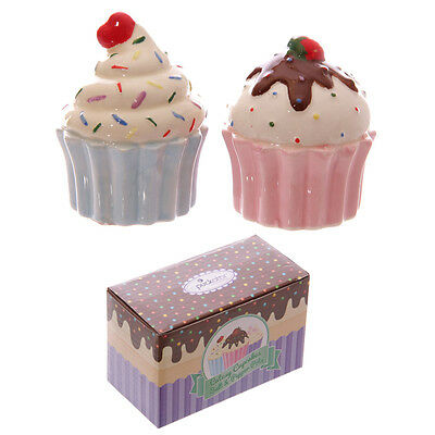 Ceramic Cute Cupcake Fairy Cake Salt & Pepper Pot Condiment Set Gift Boxed Xmas