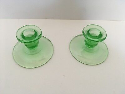 Rare Pair of Vintage Depression Era Green URANIUM VASELINE GLASS Candle Holders