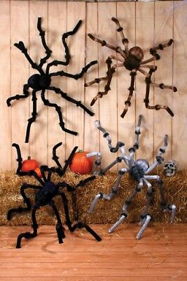 8 FOOT GIANT BIG Hairy Furry Posable Spider Scary Halloween Decor Black Purple