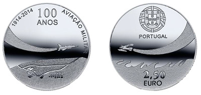 100 years military aviation 2,5 euro 2014 Unc Coin Portugal