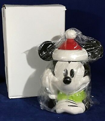 New MICKEY MOUSE SANTA CLAUS COOKIE JAR - Christmas CERAMIC Holiday DISNEY STORE