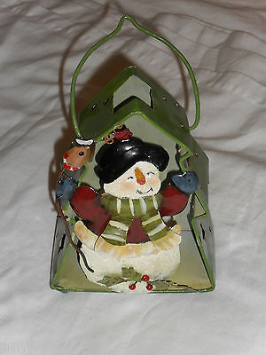 New Christmas Candle Holder Snowman Birdhouse Tree Hand Painted Gift Decoration