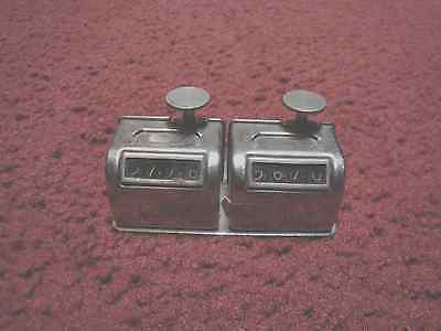 Vintage Dual Mounted Chrome Hand Held Mechanical Counters with 4 Digits Each