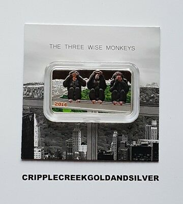 2014 1000 Shilling Tanzania Three Wise Monkeys 1oz. .999 Silver Proof Coin