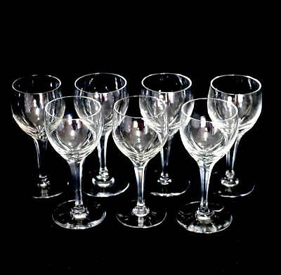 Vintage cut crystal set of 7 small white wine glasses in lovely condition