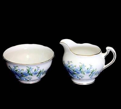 Vintage Colclough pretty blue floral cream jug and sugar bowl set