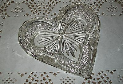 Lovely Small Vintage Clear Cut Glass Heart Shape Dish