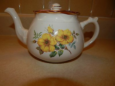 Arthur Wood England Tea Pot White with yellow flowers roses 5447