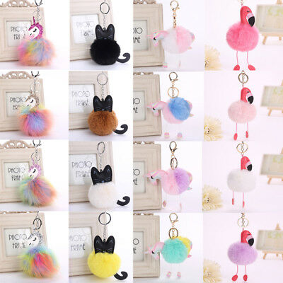 Hot !!! Unicorn Flamingo Pineapple Cat Pink Key Chain Bag Car Keyring Jewelry
