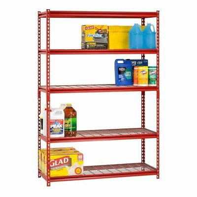 Red Steel Storage Shelf 5 Rack Wire Unit 72in Tall Home Garage Office Warehouse